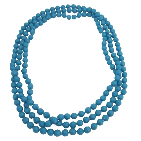 Multi Faceted Beads Long Necklace 3 Stranded 64 Inches Long Necklace