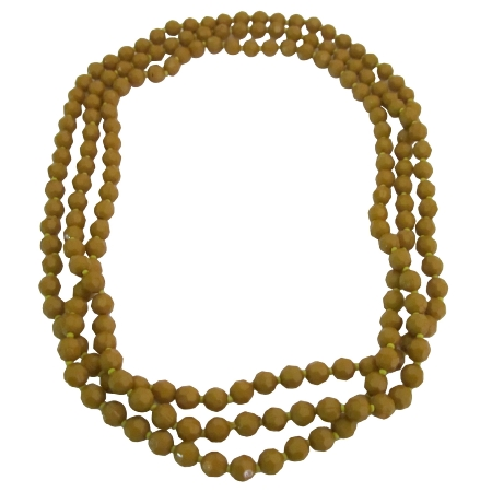 Long Necklace Golden Beads Jewelry Multi Faceted 64 Inches Winter Wear