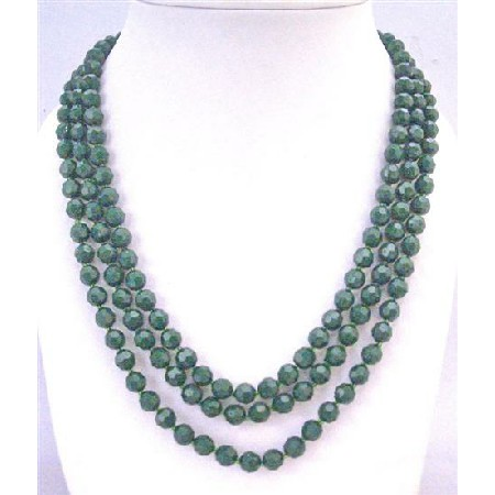 Dark Green Long Necklaces 8mm Multi Faceted 64 Inches Long Necklace