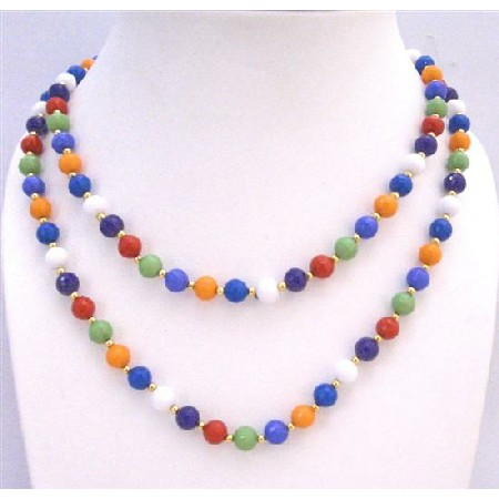 Multi Colored Beads w/ Golden Beads Spacer 57 Inches Long Necklace