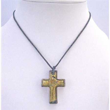 Christmas Gift Golden Cross Pendnat shinning Murano Glass Necklace