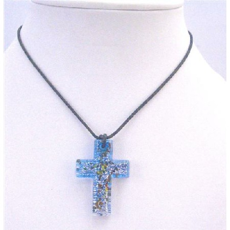 Glass Cross Pendnat Blue Murano Glass Cross Black Chord Necklace Gift