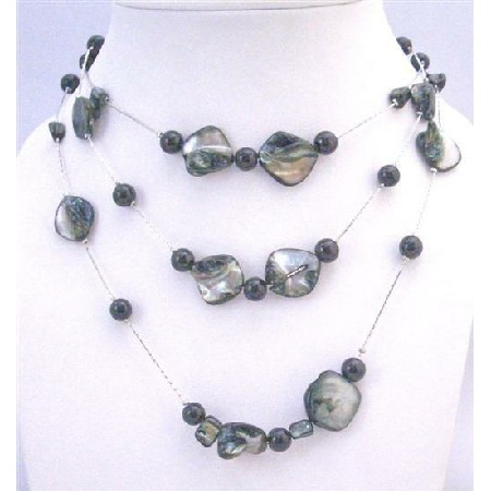 Affordable Shell Pearls Black Shell Black Pearls 3 Stranded Necklace