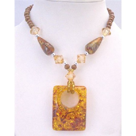 Square Pendant Wooden Beads Long Necklace Ethnic Passion Amber Jewelry