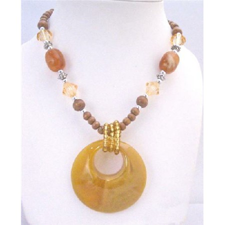 Yellow Jade Round Pendant Stunning Wooden Beads Long Necklace Jewelry