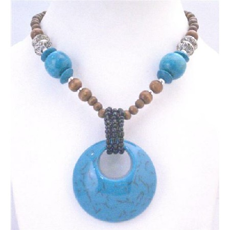 Turquoise Round Pendant Necklace Affordable Gift Jewelry Wooden Beads