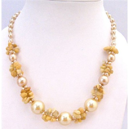 Necklace Accented Yellow Nugget Chips Glass Bead Pearls Fancy Necklace