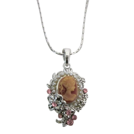 Pink Lady Cameo Victorian Pendant Silver Flower Jewelry Cameo Necklace