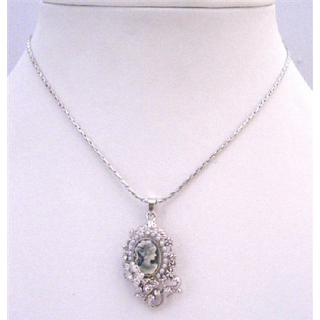 Cameo Jewelry Color Grey Crystal Cameo Pendant Vintage Cameo Pendant Necklace Surrounded W/ Sparkling Flower & Crystals