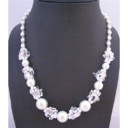 White Pearl Necklace with Clear Glass Beads Necklace Fancy Beautiful Necklace Under Necklace