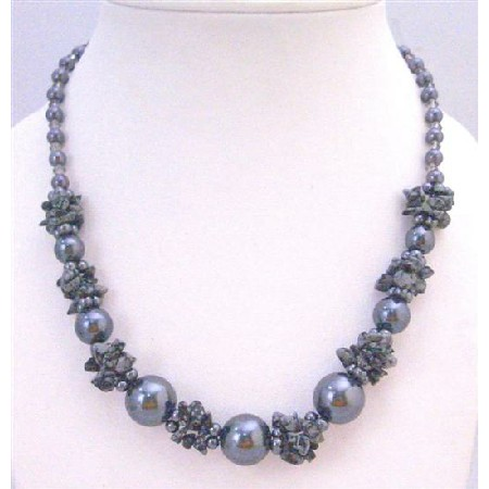 Grey Jewelry Affordable Necklace Under with Grey Pearl Grey Nugget Chips & Grey Glass Beads stunning Necklace