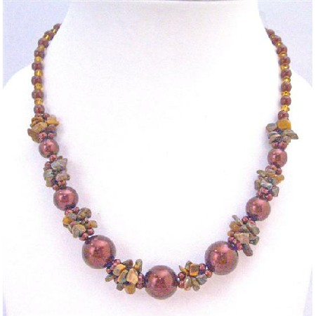 Jasper Nugget Chips Topaz Glass Beads Maroon Pearls Necklace Jewelry