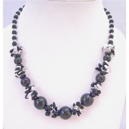 Black Pearl Black White Nugget Chips Clear Glass Beads Necklace Under Inexpensive Jewelry Under Necklace