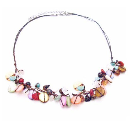 Charming Multicolored Semi Precious Nuggets & Mop Shell Necklace