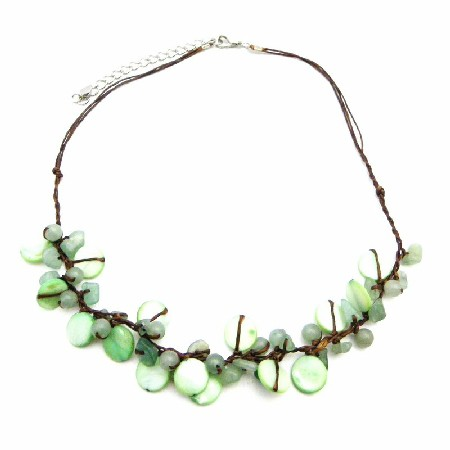 Jade Jewelry Precious Stone Handmade Jade Nuggets Mop Shells Necklace