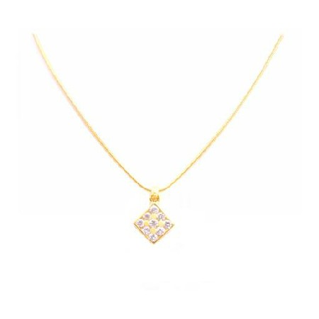 Gold Micron 18K Plated Necklace Square Pendant Swiss Cubic Zircon