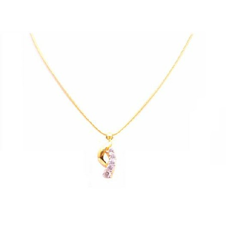Swiss Cubic Zircon Pendant w/ 18k Yellow Gold Plated Micron Necklace