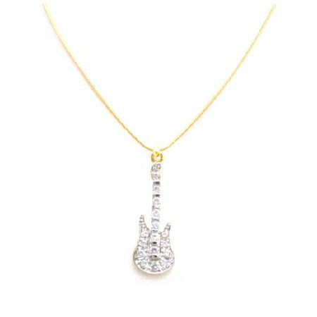 Diamond Guitar Pendant Fully Embedded Accent Micron Gold Confetti