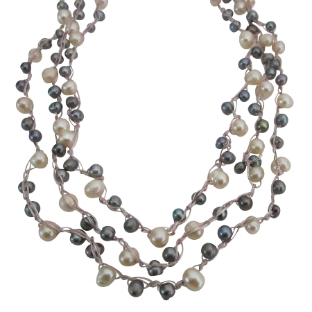 Peach Grey Natural Freshwater Pearl Long Necklace In Pink Silk String Necklace