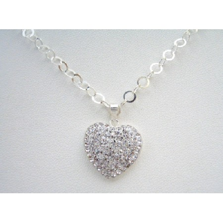 Sterling Silver 92.5 Chained Sterling Heart Pendant Necklace