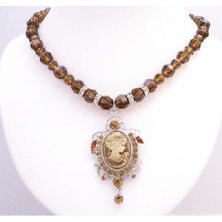 Smoked Topaz Crystals Round Crystals Necklace w/ Cameo Pendant
