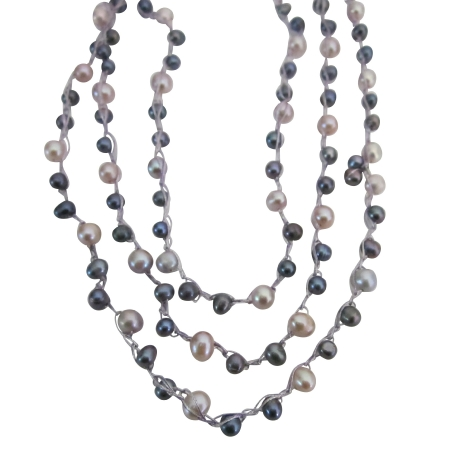 Mother Gift Austrian Crystals White Pearls & AB Crystals Necklace