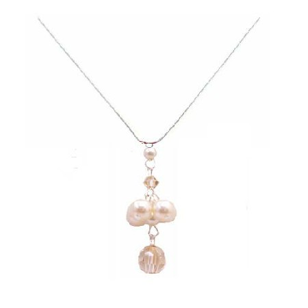 Austrian Crystal Necklace Artistically Handmade Ivory Pearls & Golden Shadow Pendant Necklace