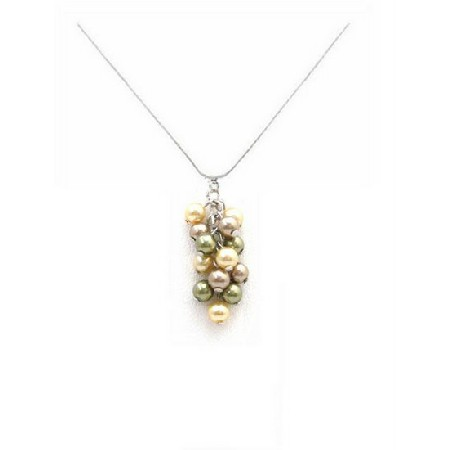 TriColor Swarovski Bronze Olive & Golden Pearls Grape Bunch Necklace