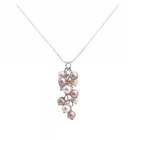 Exclusive Wedding Low Priced Pearl Pendant Swarovski Ivory & Champagne Grape Bunch Pendant Necklace