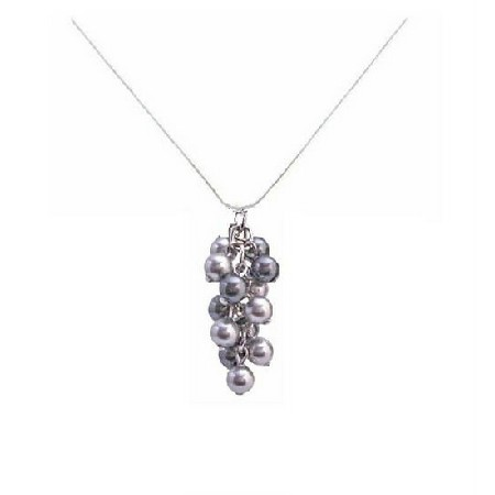 Gorgeous Crafted with Adorable Swarovski Lite & Dark Gray Pearls Pendant Bridesmaid Gift Necklace