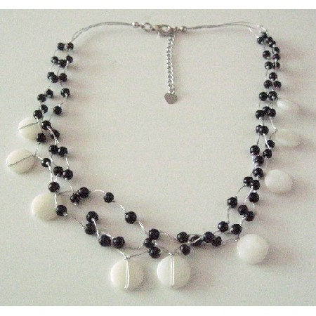 Black & White Jewelry White Shells Black Beads Three Stranded Necklace