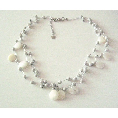 Silk Thread Necklace Three Stranded White Shells & Fancy White Beads