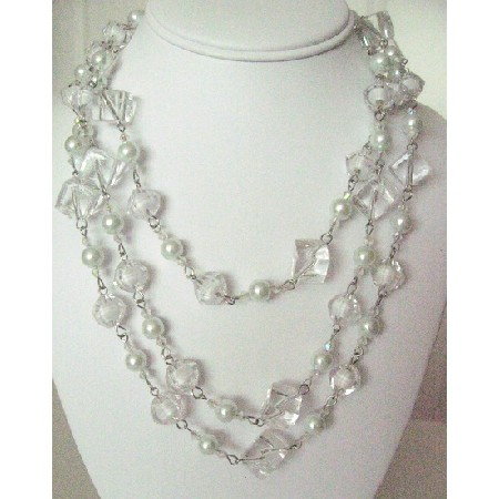 Long White Beads Pearls Multi Sizes Trendy Bead Long Necklace