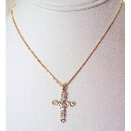 Gold Chained Necklace w/ Cross Pendant Gift All Season