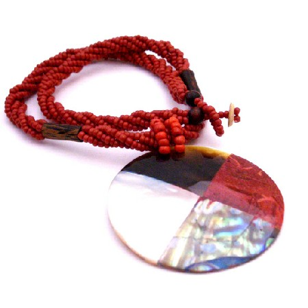 Abalone Shiva Eye Teardrop Pendant Necklace Abalone Red Beaded Jewelry