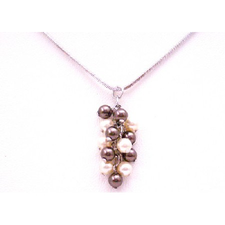Make it A Birthday To Remember Grape Bunch Brown Ivory Pearls Necklace