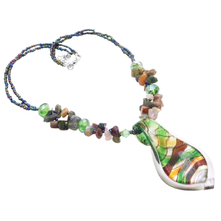 Gift Murano Glass Pendant Mulitcolor Gorgeous Shiny Pendant Necklace