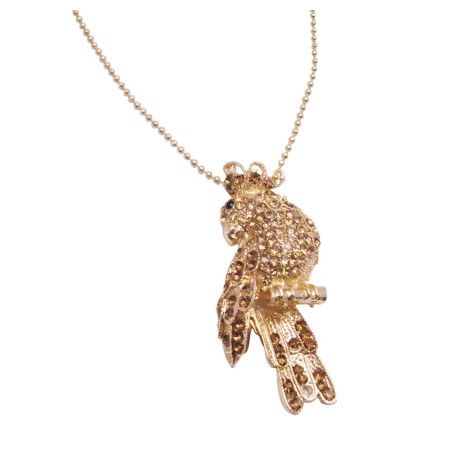 Sparkling Gold Bird Brooch Pendant Embedded Jonquil Crystals Jewelry