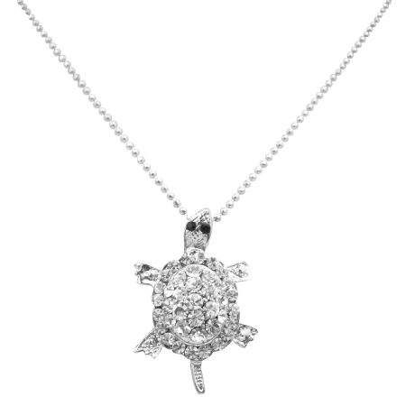 Symbol Of Long Life Cute Small Silver Turtle Pendant Brooch