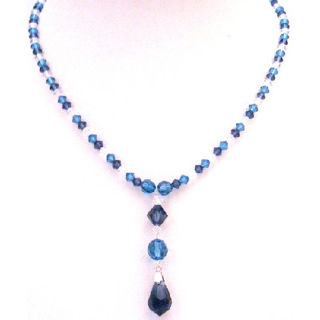 TriColor Swarovski Crystals Indicolite Night Blue Clear Crystal Drop Down Necklace