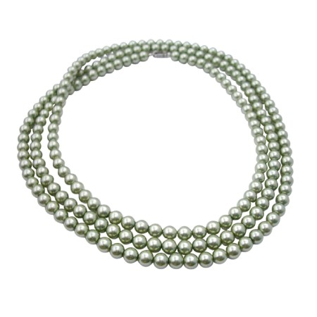 Green Pistachu Pearls Long Necklace 62 Inches