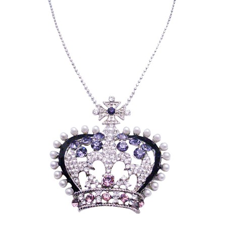Crown Rhinestones Pendant Long Necklace 26 Inches