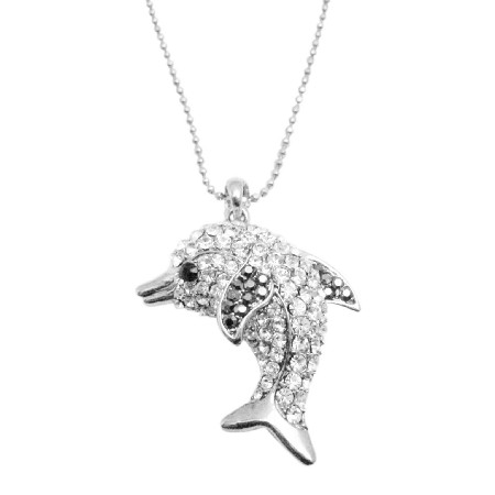 Cubic Zircon Dolphin Pendant Long Necklace Sparkling Gift