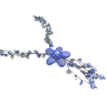 Blue Lapiz Nugget Femine Fashion Style Flower Tassel Necklace