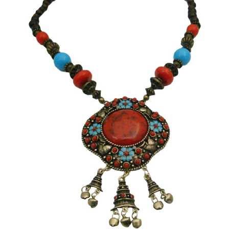 Turquoise Engraved Flower w/ Coral Stones Dangling Bells Necklace