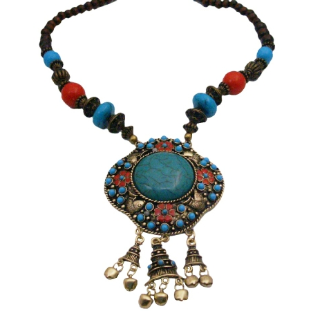 Artistically Designed Necklce w/ Turquoise Flower Engraved Necklace
