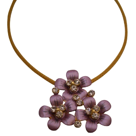 Colorful Trendy Purple Flower Pendant Nacklace