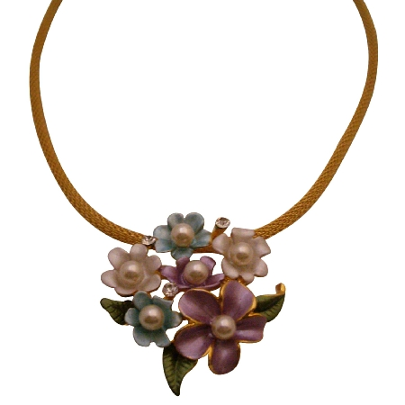 Multicolor Flowers Pendant Necklace