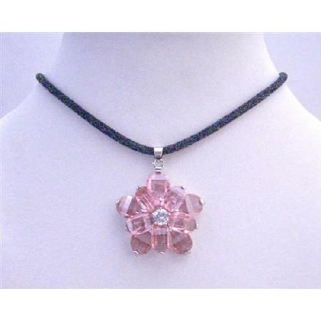 Sunflower Necklace on Sunflower Pendant Pink Crystals Flower Pendant W  Black Velvet Cord