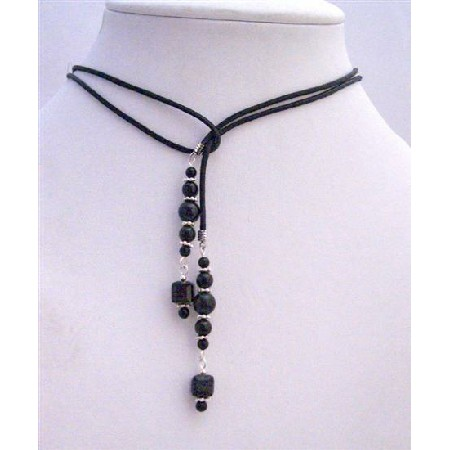 Lariat Necklace w/ Genuine Swarovski Mystic Pearls & Jet Crystals w/ Silver Spacer Black Leather Cord Necklace